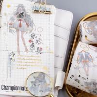 来图定制烫金特油梦幻巫灵长发少女DIY素材和纸胶带