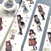 来图定制烫金特油猫咪装扮可爱少女DIY装饰手帐胶带