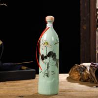 陶瓷酒瓶一斤装景德镇家用创意木盖墨彩荷花装饰酒壶 密封空