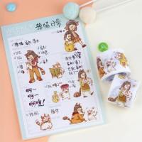 来图定制爱宠猫咪与小女孩日常小事手帐胶带