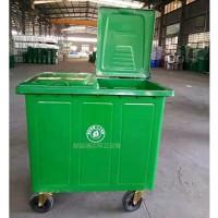供应瑞达660升户外加厚挂车铁质垃圾桶