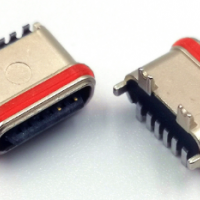 TYPE-C 6P防水母座立式贴片